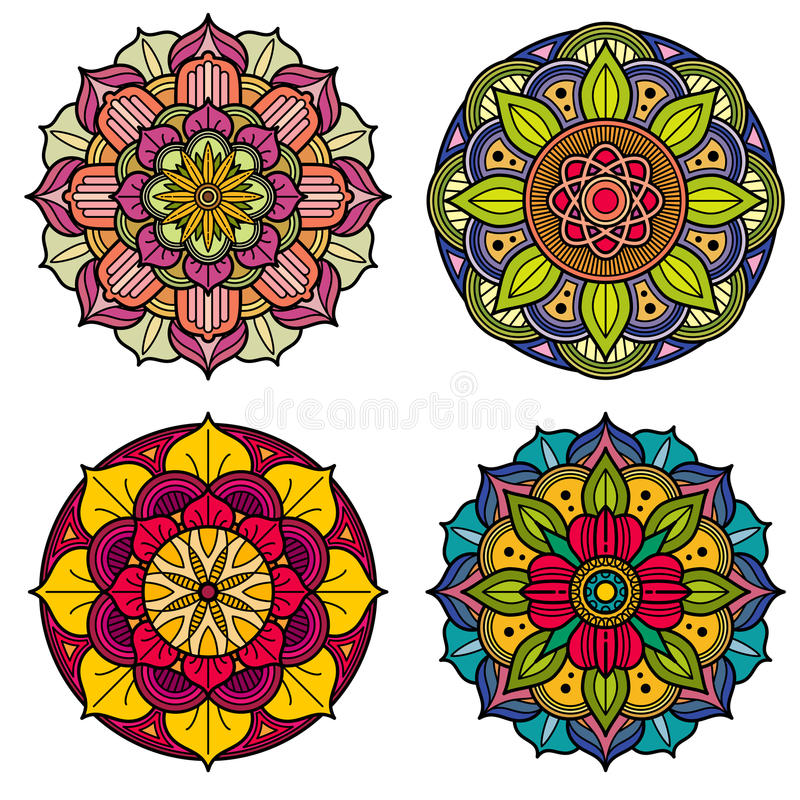 Coloree las mandalas los modelos florales indios y chinos del vector stock de ilustración