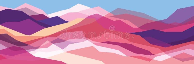 Coloree las montañas, ondas translúcidas, formas de cristal abstractas, fondo moderno, ejemplo del diseño del vector para usted p stock de ilustración