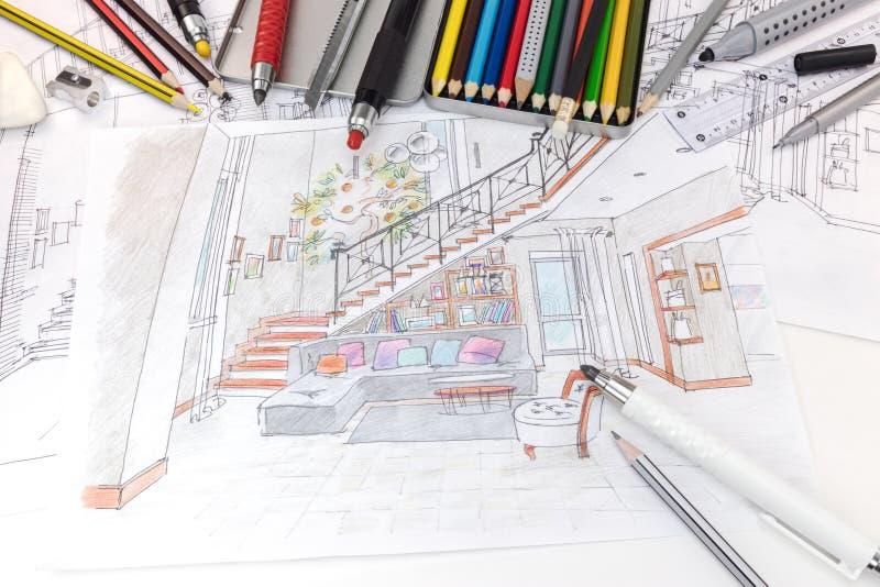 Coloree las plumas, el regla y el otro proyecto dibujado SK de las herramientas de dibujo a mano imagen de archivo