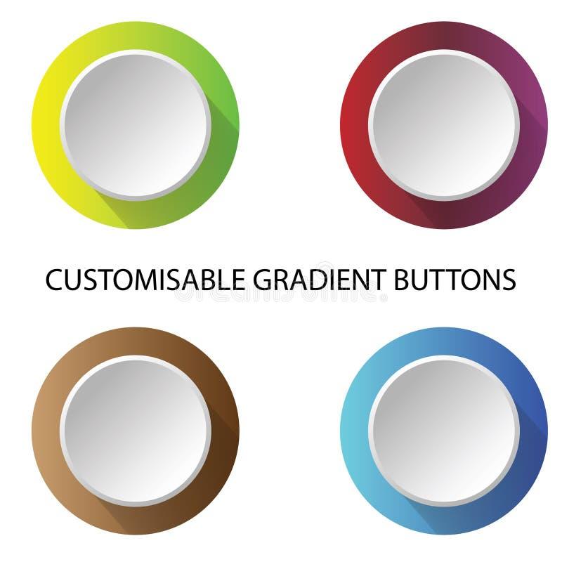 Coloree los botones de la pendiente para los medios y las aplicaciones sociales del anuncio publicitario libre illustration