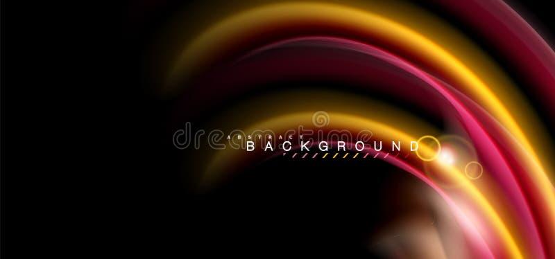 Coloree los efectos luminosos brillantes sobre forma ondulada multicolora del estilo negro, líquido ilustración del vector