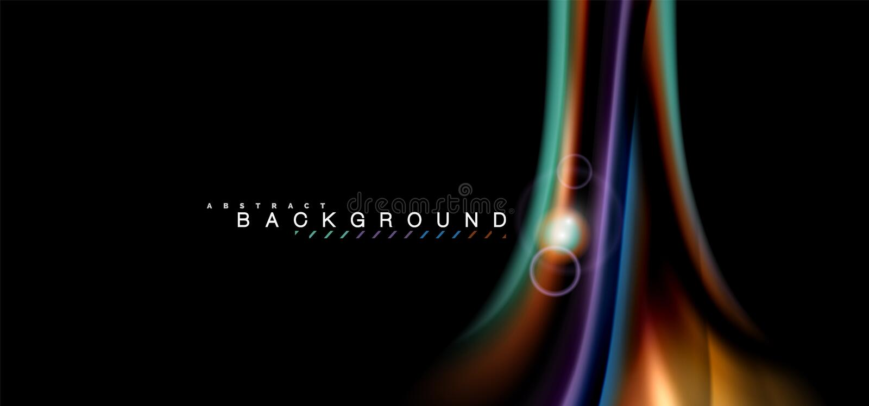 Coloree los efectos luminosos brillantes sobre forma ondulada multicolora del estilo negro, líquido stock de ilustración