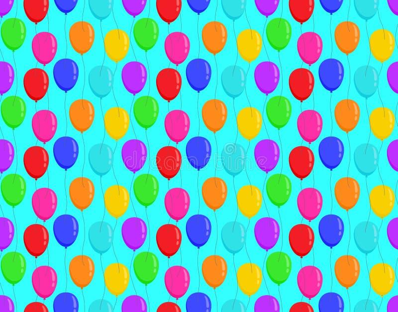 Coloree los globos en modelo inconsútil brillante del fondo azul libre illustration