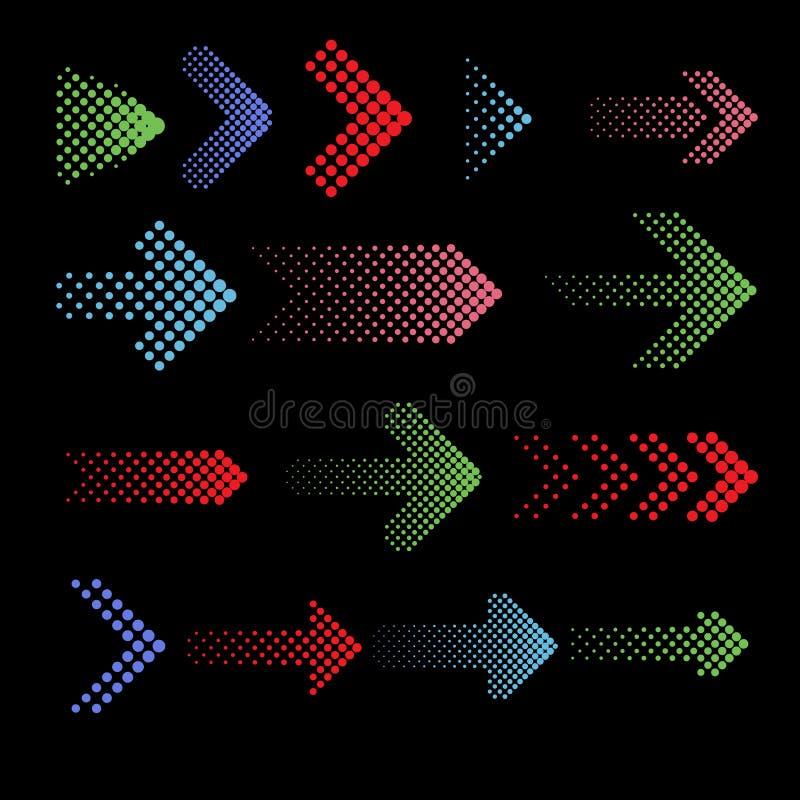 Coloree los iconos punteados del vector de la flecha con el efecto de semitono stock de ilustración