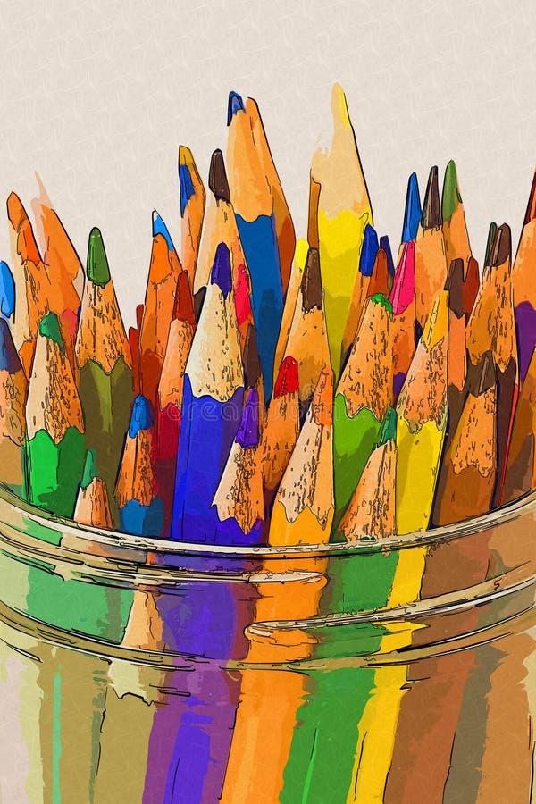 Coloree los lápices en un tarro - estilo del gráfico imagen de archivo libre de regalías