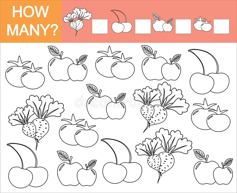 Coloree los objetos de verduras, de la baya y de la fruta y cuente cuántos stock de ilustración