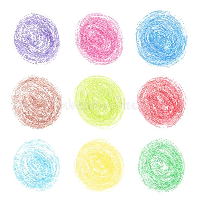 Coloree los puntos redondos del lápiz stock de ilustración