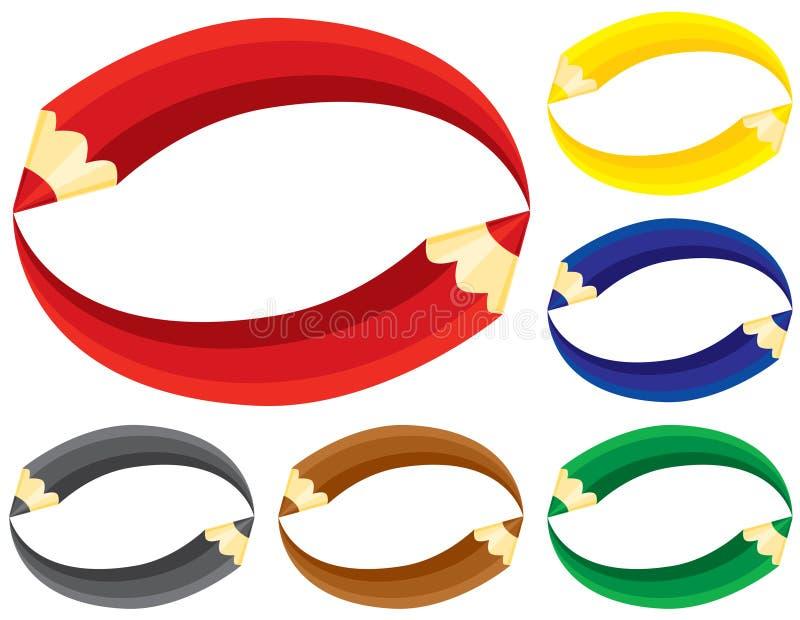 Coloree los símbolos de los lápices. stock de ilustración