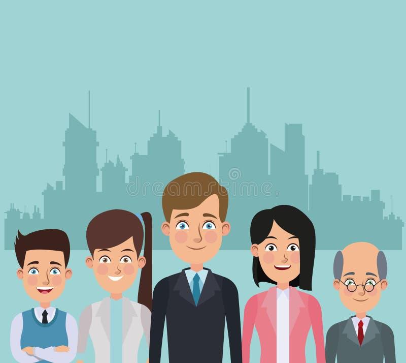 Coloree pares del cuerpo del fondo de la silueta del paisaje de la ciudad a los medios de mujeres y de ejecutivos de los hombres stock de ilustración