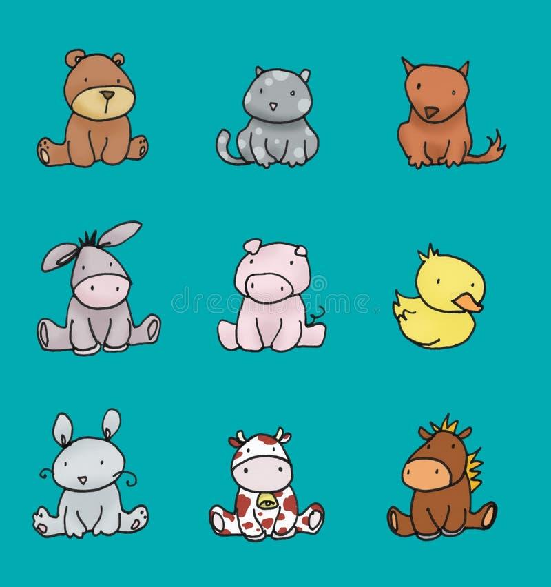 Colores 2 de los animales del bebé ilustración del vector