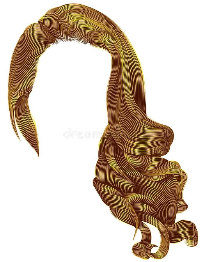 Colores amarillos brillantes de la peluca larga de moda de los pelos rizados de la mujer retro stock de ilustración