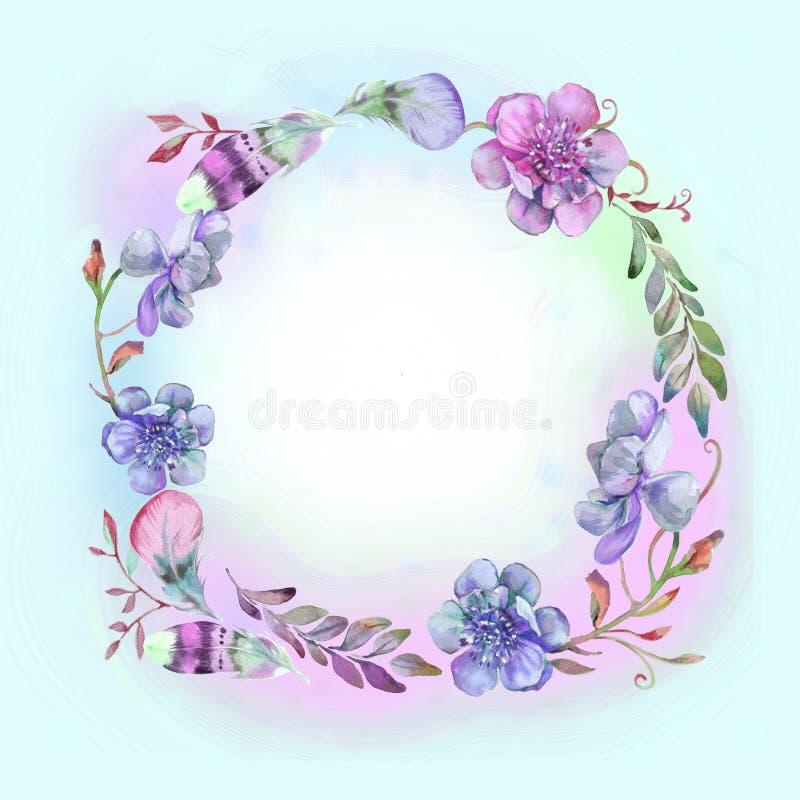 Colores azules y de la lila en marco floral stock de ilustración