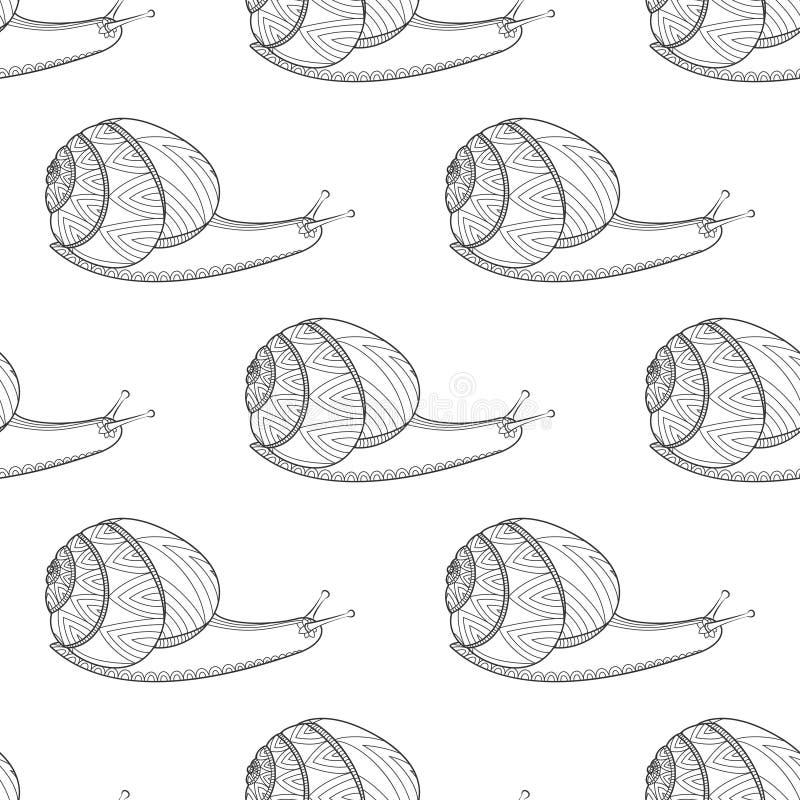 Colores blancos y negros del caracol Moluscos de los invertebrados Modelo inconsútil de la vida del enredo salvaje del zen ilustración del vector
