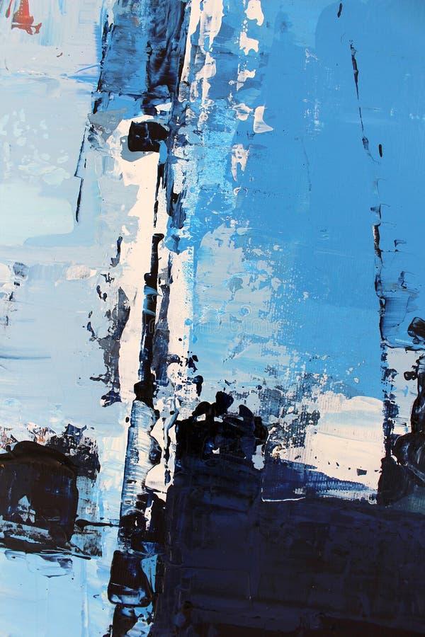 Colores brillantes azules en lona Pintura al ?leo Fondo del arte abstracto Pintura al ?leo en lona Textura del color Fragmento de stock de ilustración