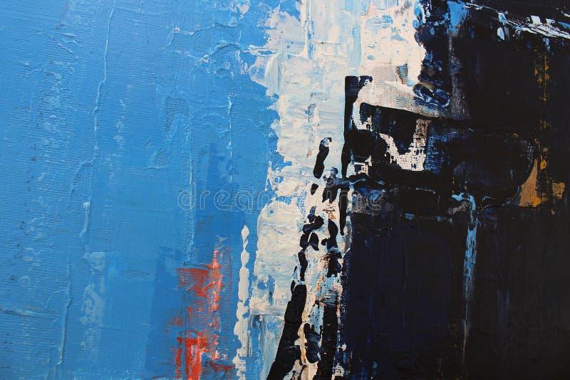 Colores brillantes azules en lona Pintura al ?leo Fondo del arte abstracto Pintura al ?leo en lona Textura del color Fragmento de ilustración del vector