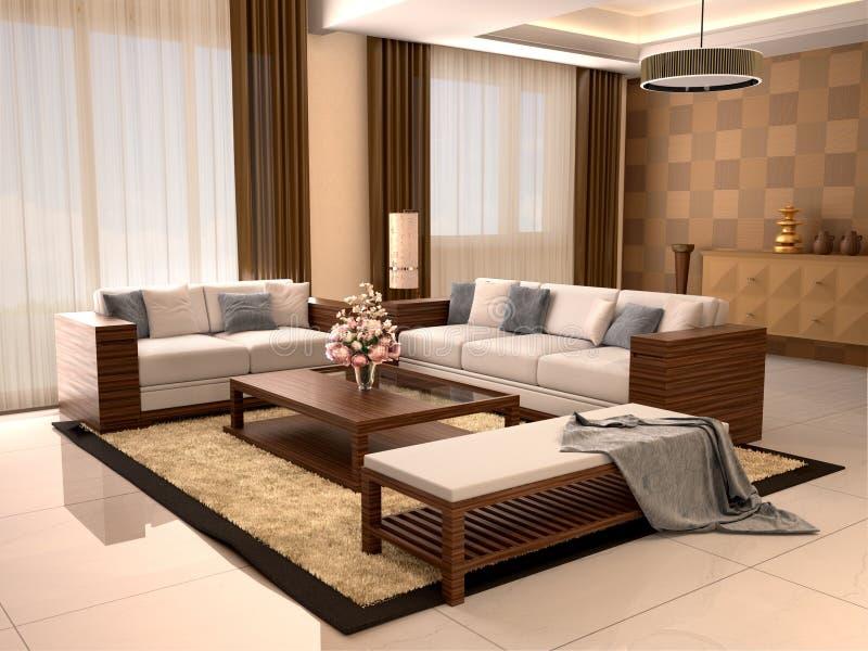 Colores calientes de la sala de estar del diseño moderno libre illustration