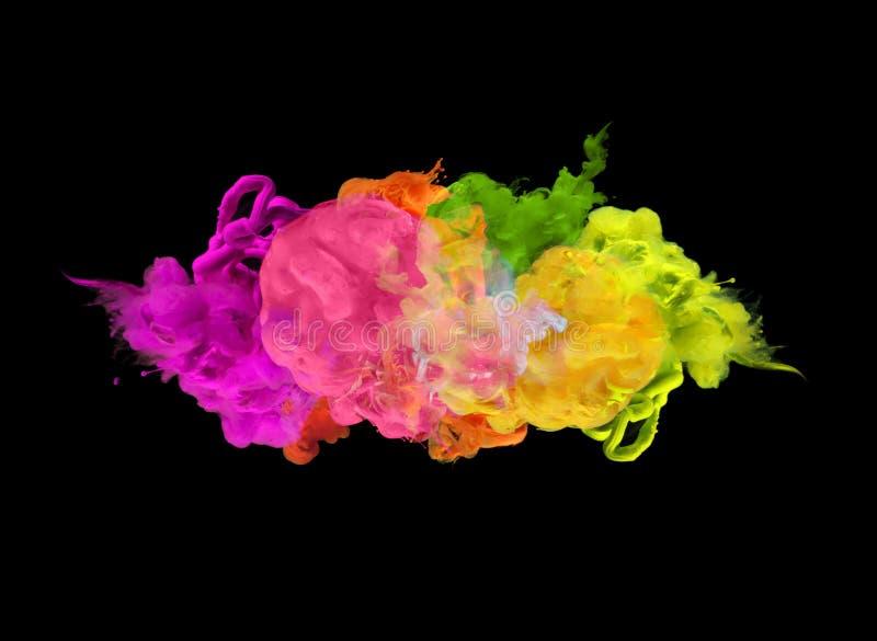 Colores de acrílico en agua abstraiga el fondo foto de archivo