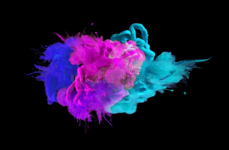 Colores de acrílico en agua abstraiga el fondo fotos de archivo