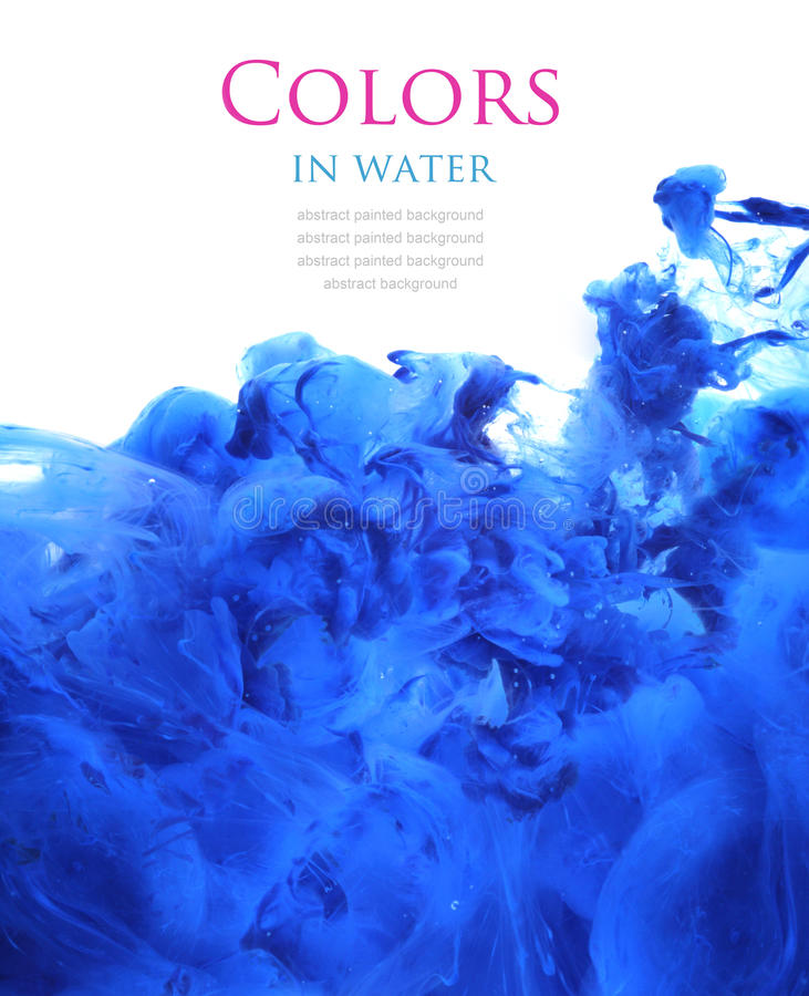 Colores de acrílico en el agua, fondo abstracto fotografía de archivo
