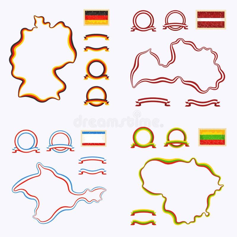 Colores de Alemania, de Letonia, de Lituania y de Crimea stock de ilustración