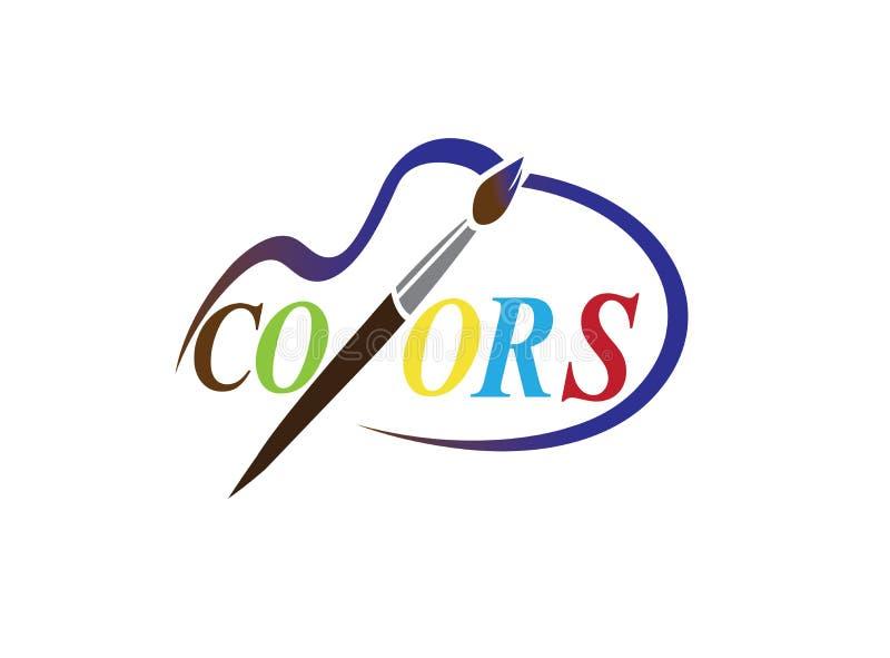 Colores de dibujo del alfabeto con el cepillo de la mano para el ilustrador del diseño del logotipo ilustración del vector