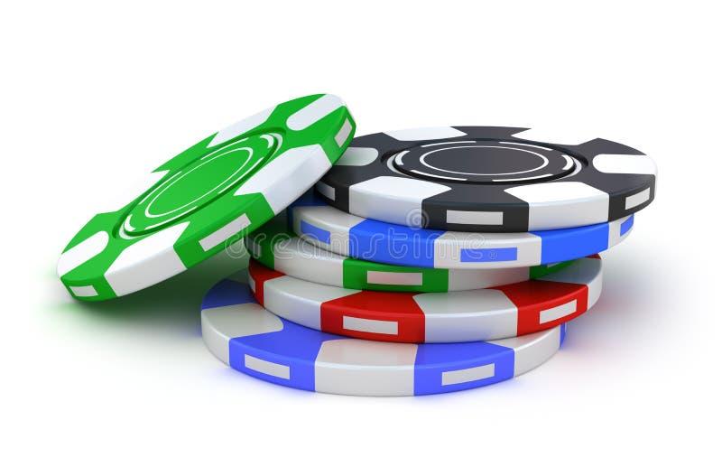Colores de juego de las virutas de póker diversos libre illustration