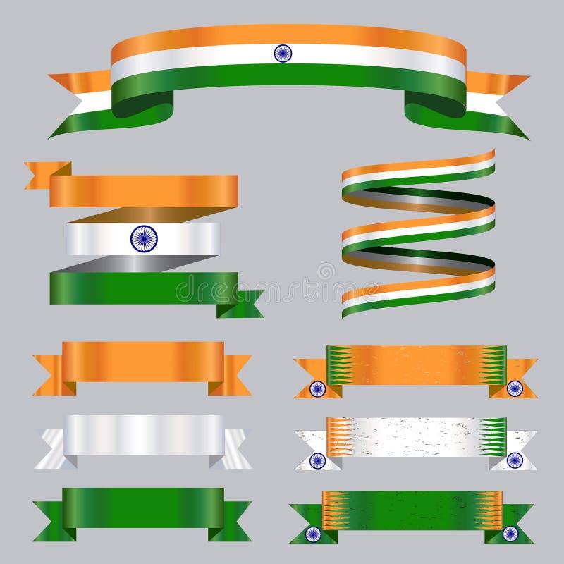 Colores de la bandera de la India de la colección de las cintas libre illustration