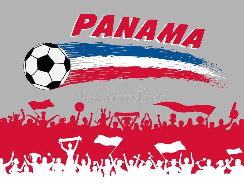 Colores de la bandera de Panamá con el balón de fútbol y los partidarios si del panameño stock de ilustración
