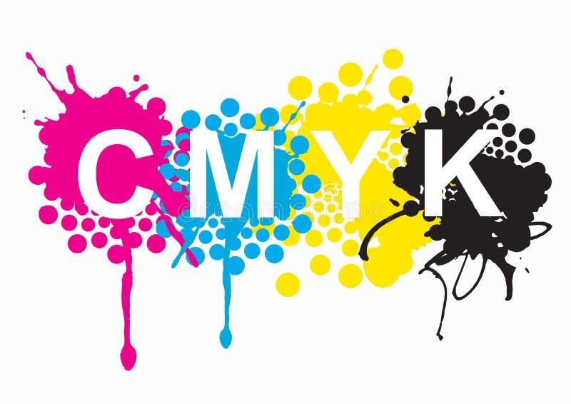 Colores de la impresión de CMYK stock de ilustración