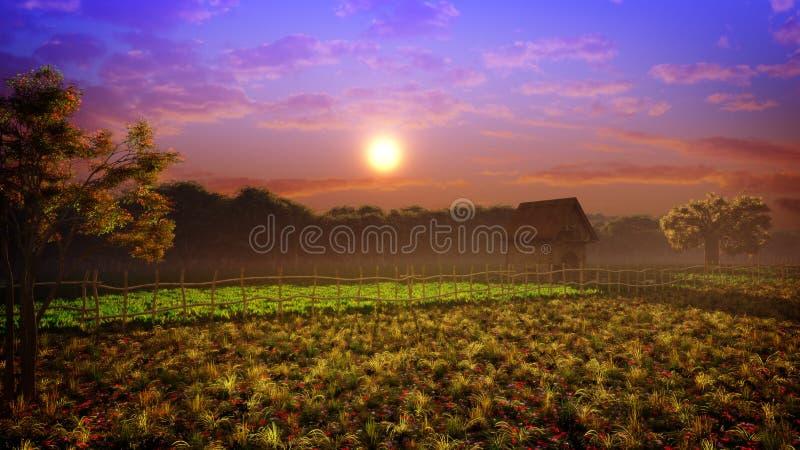 Colores de la puesta del sol del paisaje de la fantasía ilustración del vector
