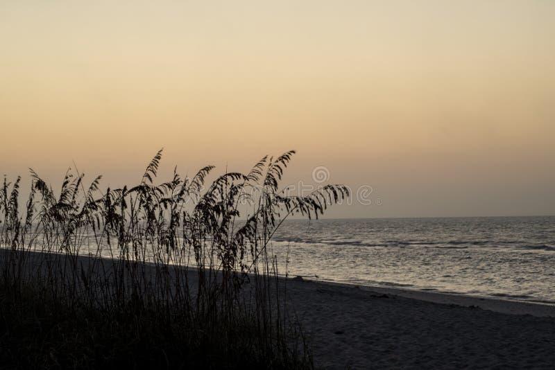 Colores de la puesta del sol en la playa en Key West imagenes de archivo