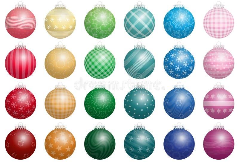 Colores de las bolas del árbol de navidad ilustración del vector