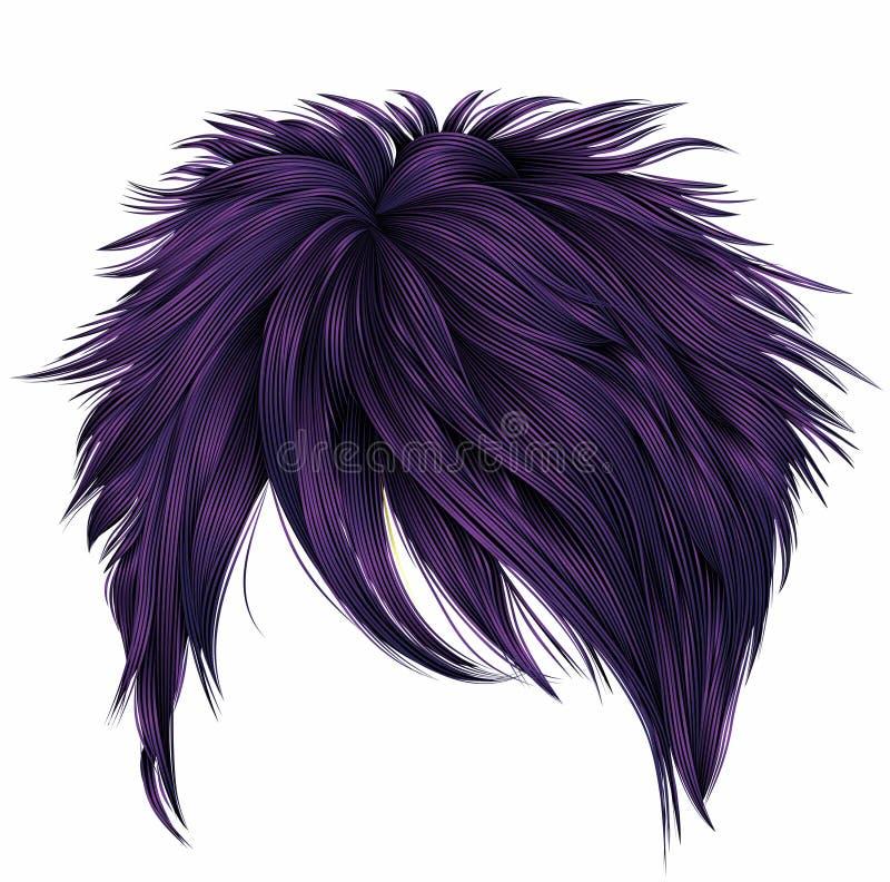 Colores de moda de la púrpura de los pelos cortos de la mujer franja Estilo de la belleza de la moda ilustración del vector