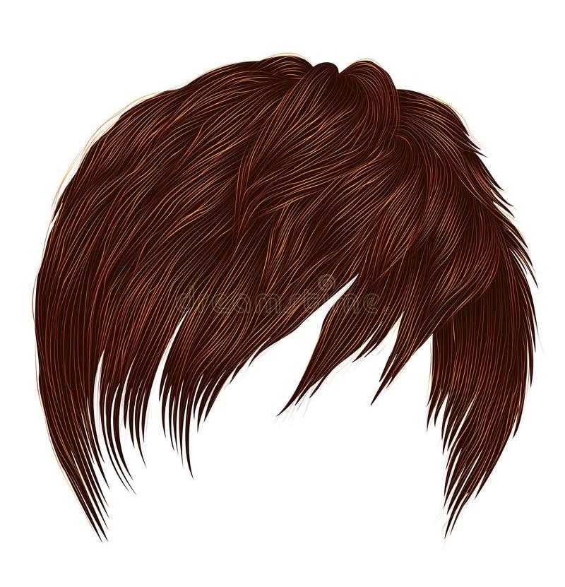 Colores de moda del pelirrojo del jengibre rojo de los pelos cortos del hombre de la mujer franja Estilo de la belleza de la moda libre illustration