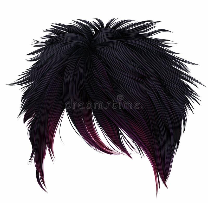 Colores de moda del rosa del negro de los pelos cortos de la mujer Franja larga Estilo de la manera japonés del emo stock de ilustración