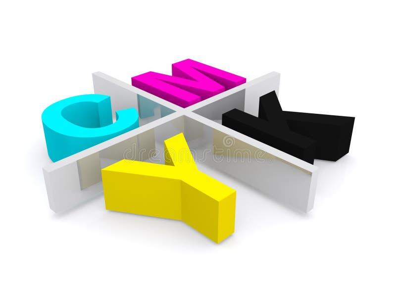 Colores de proceso de CMYK en 3D stock de ilustración