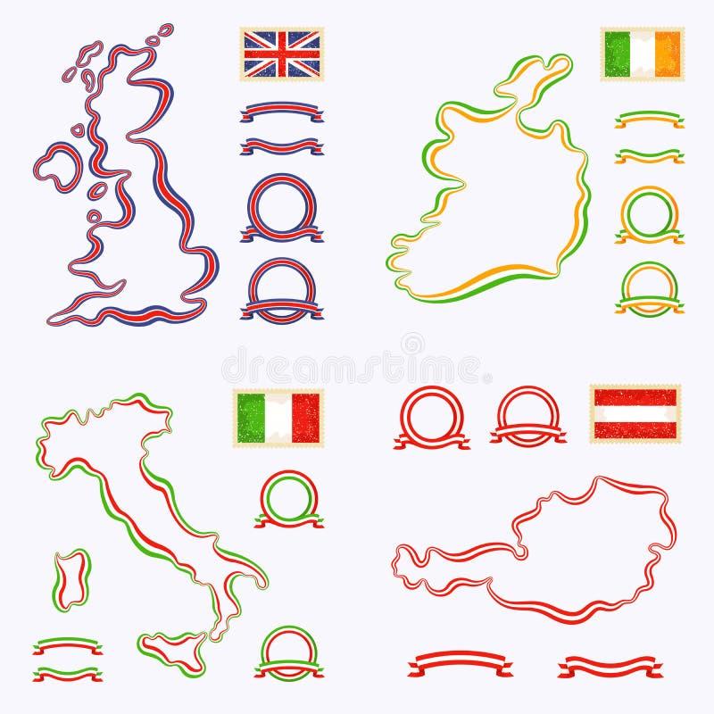 Colores de Reino Unido, de Italia, de Irlanda y de Austria libre illustration