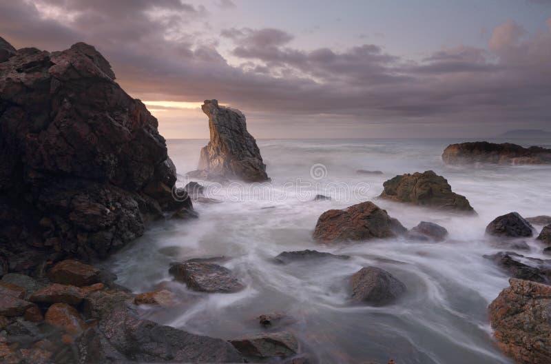 Colores del amanecer en el puerto Macquarie de la playa del faro imagen de archivo libre de regalías