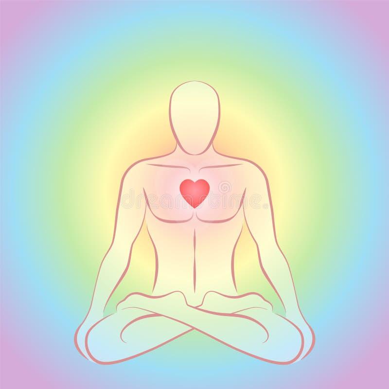 Colores del arco iris de Chakra del corazón del hombre de la meditación que brillan intensamente stock de ilustración