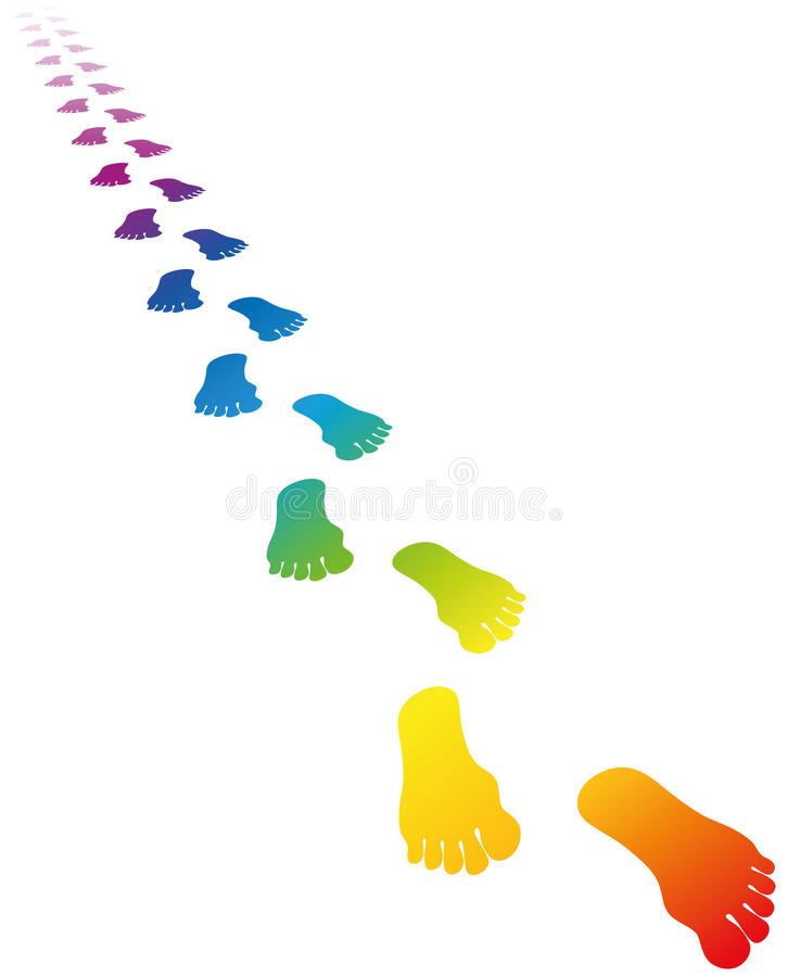 Colores del arco iris de la huella ilustración del vector
