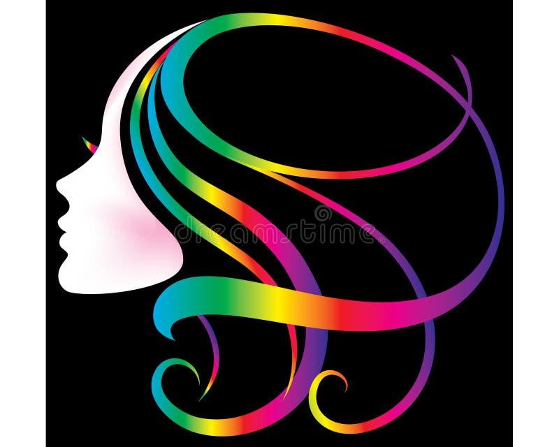 colores del arco iris del icono de la silueta de la cara de las mujeres ilustración del vector