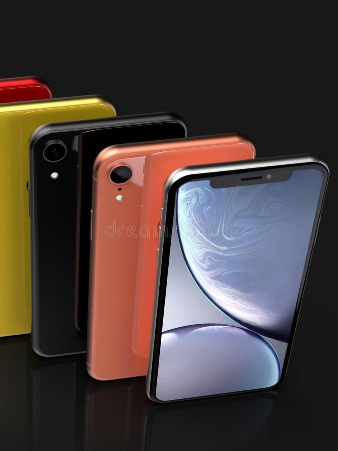 Colores del iPhone XR de Apple, posición vertical, alineada stock de ilustración