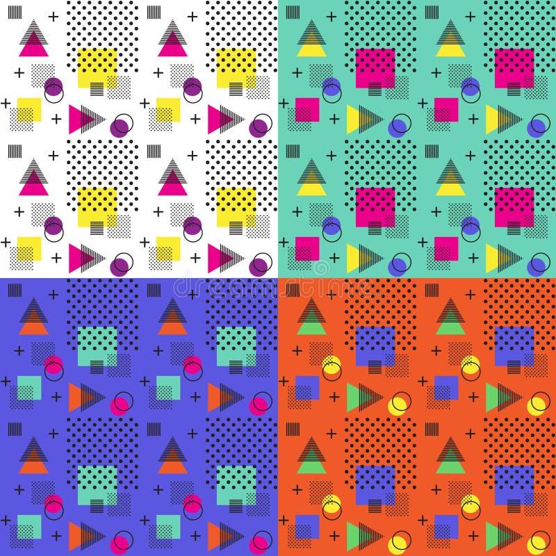 4 colores del modelo inconsútil de Memphis, ejemplo del vector imagen de archivo libre de regalías