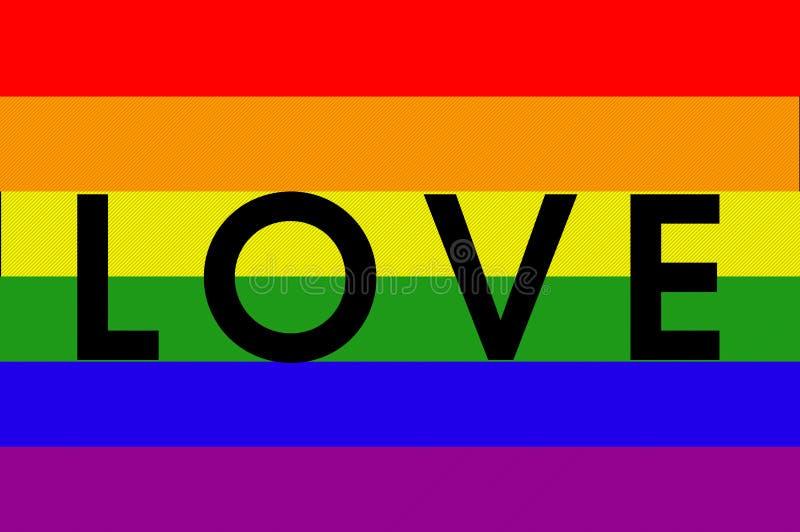 Colores del movimiento de LGBT con la palabra AMOR libre illustration