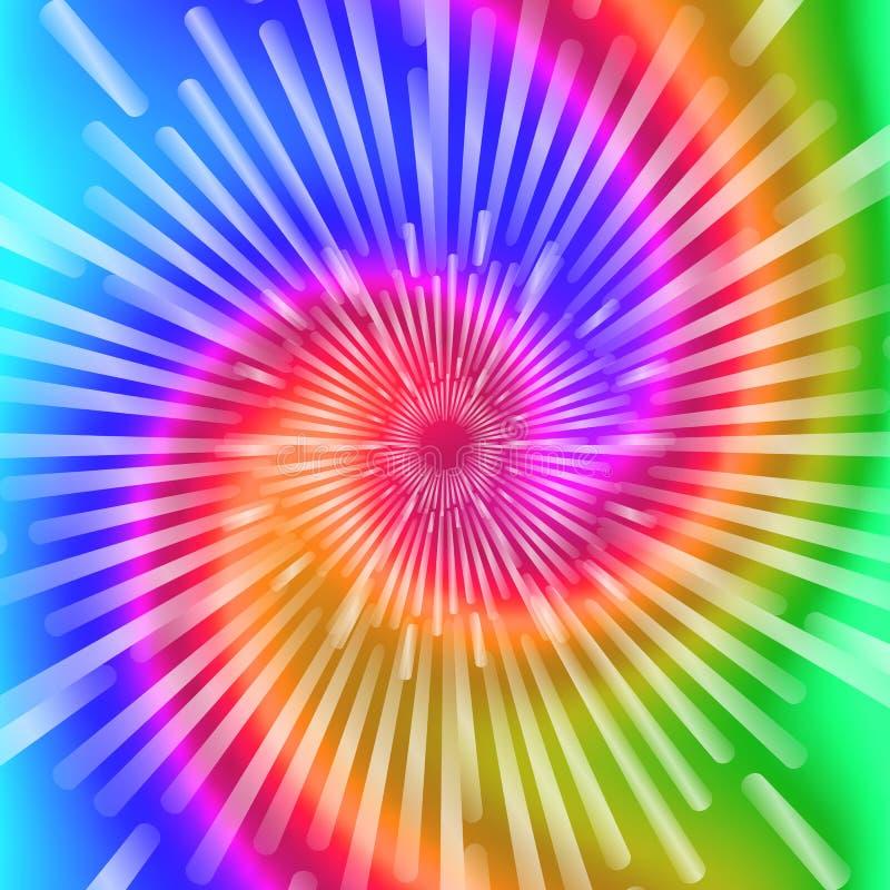 Colores del teñido anudado Ejemplo espiral realista hermoso del vector del teñido anudado ilustración del vector