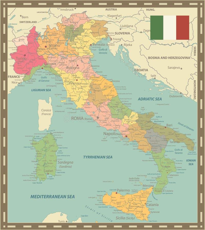 Colores del vintage del mapa de Italia stock de ilustración