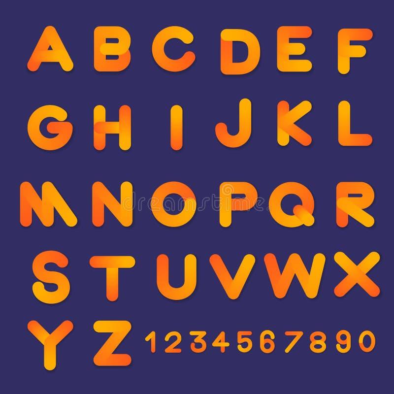Colores determinados de la pendiente del estilo de fuente de la burbuja 3D del vector del alfabeto D plana ilustración del vector