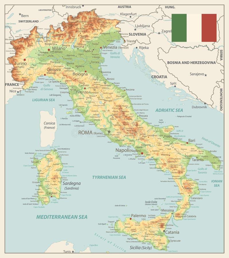 Colores físicos de Vinatge del mapa de Italia ilustración del vector
