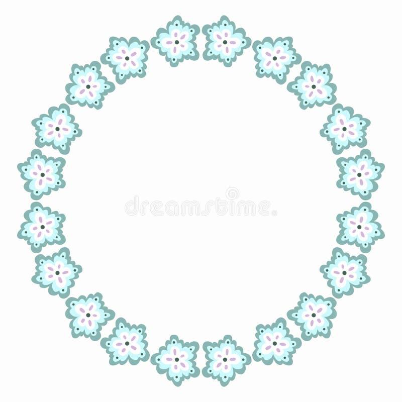 Colores fríos azules claros de la frontera redonda de la flor ilustración del vector