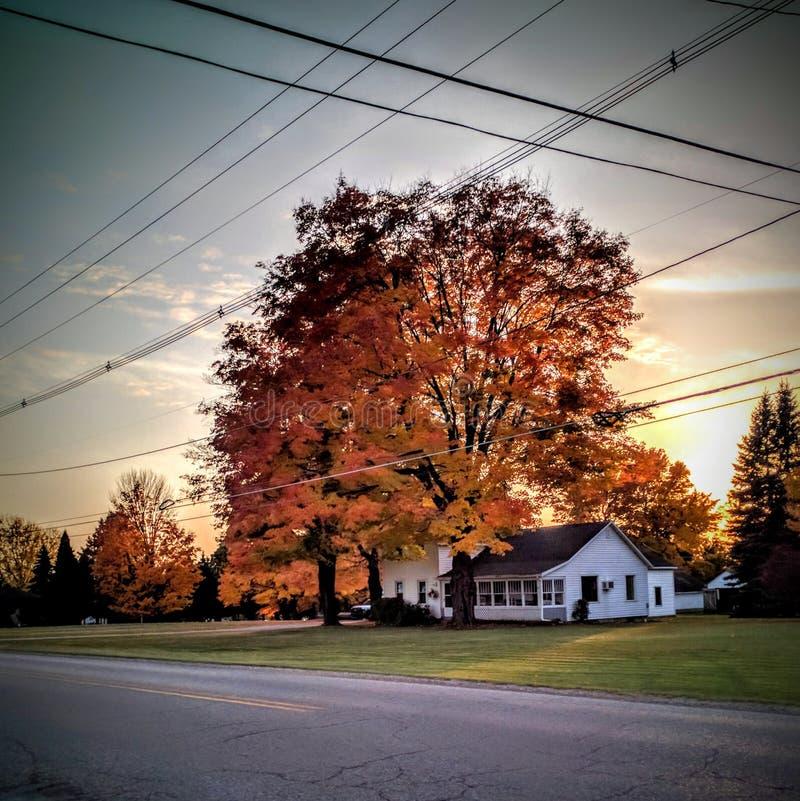 Colores imponentes y vibrantes de la caída con la casa de la granja imagenes de archivo